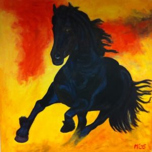 Fries paard schilderij horsepower frysian horse kunstvanmariekedejong