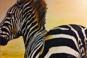 zebra painting schilderij out of africa kunstvanmariekedejong