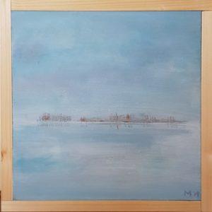 Tjeukemeer ijs landschap koud Friesland 20 x 20 cm