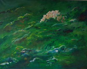 bergdorpje, schilderij, kunst aan de muur, droomwereld, hier wil je zijn, onbereikbaar