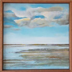 horizon, landschap, waddenlandschap, eindeloos, wolkenlucht, Friesland, waddenzee, schilderij