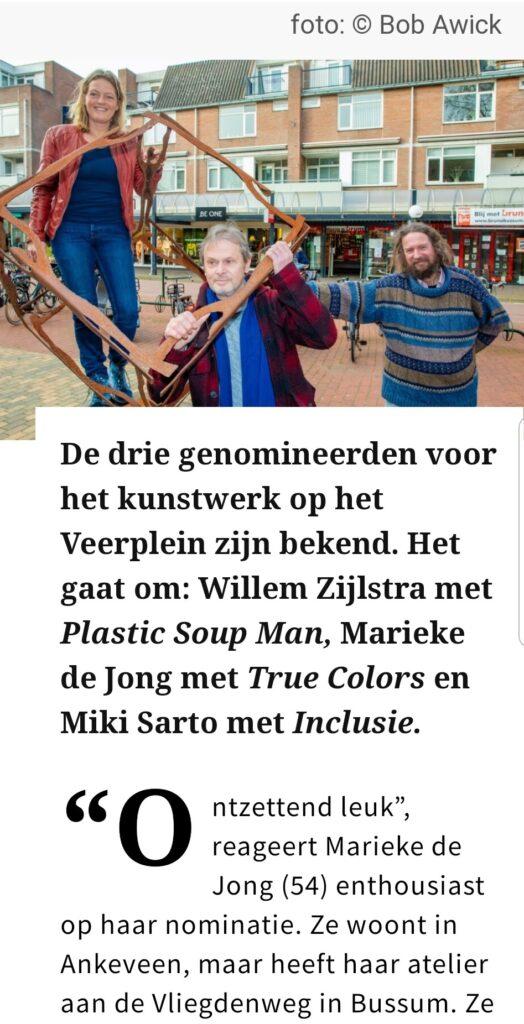Marieke de Jong is genomineerde voor de wisselsokkel op het Veerplein in Bussum, gemeente Gooisemeren