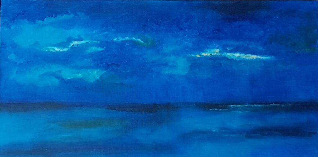 Painting, blue, ocean, doorbrekende zon, wad,